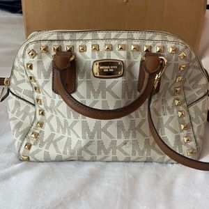 Authentic MK white brown studded crossbody